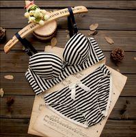 Wholesale Striped Bra Panties Set - High quality women push up bra sets Lovely cotton Thin bow Striped flower heart bra set underwear lingerie sets bra + panties