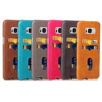 Wholesale Hard Plastic Credit Card Case - 3 Credit Card Slot Hard PC PU Leather Case For Samsung Galaxy S8 Plus Iphone X 8 7 7Plus I7 6 6S Plus Hybrid Cover Skin Pocket Fashion 10pcs