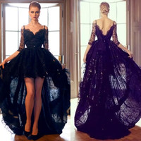 2018 Sexy Black Lace Evening Dresss High Low Off Плечо с длинным рукавом плюс размер Backless Celebrity Dresses Party Evening Wear Custom Made