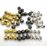 Wholesale silver gun charm bracelet for sale - Group buy 100pcs Barbell Dumbbell Spacer Beads Charms Antique silver Gold Gun Black fit Diy Beaded Fitness Bracelets Jewelry Making x8mm