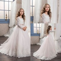 making sleeves for wedding dress with best reviews - Pageant Dresses for Girls Glitz Lace Ball Gown O-neck Long Sleeves Flower Girl First Communion Gowns Vestidos Longo New Arrival