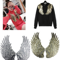 Wholesale Large Gold Sequin Fabric - 1 Pair Angel Wing Sequin Embroidered Fabric Large Patch Applique Stick Clothes Decorate Accessories DIY Gold Silver