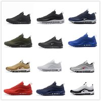 Wholesale Bullets Light - Mens Athletic Army green Max 97 OG QS Silver Bullet Running Shoes Fashion Maxes Black Gold Run Trainer Sneaker US7-US11