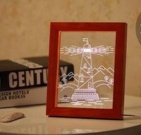 Wholesale Wholesale 3d Photo Frames - Wholesale Cut A Small The Lighthouse Desk Lamp Photo Frame Small Night Light Novelty Items 3D Night Light Home Decorations 01