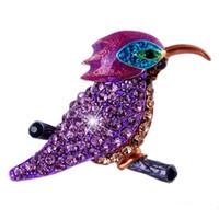 Wholesale Popular Bird - Wholesale- Fashion Formal Jewelry Brooch Pins Rhinestone Crystal Birds Popular Gifts women brooches wedding brooch jewelry
