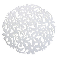 Wholesale Round Dinner Tables - Wholesale- Round Laser Cut Flower Felt Placemats Kitchen Dinner Table Cup Mats Cushion White