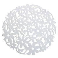Wholesale Felt Placemats - Wholesale- Round Laser Cut Flower Felt Placemats Kitchen Dinner Table Cup Mats Cushion White