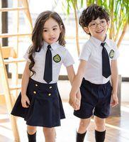 Wholesale Kids Necktie Shirts - 2017 New Kids School Uniform Dress Set 2PCS Set Necktie Girl White Skirt + Short Skirt Boys White Shirts+ Short Pants B4605