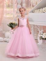 mädchen rosa brautkleid großhandel-Hot Pink Lace Blumenmädchen Kleider A Linie O Hals Erstkommunion Kleid Perlen Bodenlangen Schöne Braut Mädchen Kleider
