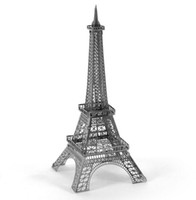 Wholesale 3d Eiffel Tower Decor - Paris Eiffel Tower 3D Laser Cut Handmade Assembling Puzzle Model Metal Crafts For Home Decor Business & Birthday & Wedding Gift