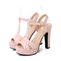 ingrosso tacchi beige t-Plus Size 34-43 Sandali Donna Estate Sandali con tacco alto Sandali sexy con cinturino a T Tacco a spillo Party Dress Shoes Donna