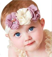 Wholesale Elastic Pearl Ring - Baby gril Flower Elastic Hair Band Headband Kids Chiffon 3 Flower Pearl Diamond Ring Hair Accessories Flower Headbands H061