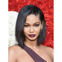 Wholesale Yaki Lace Front Wig Short - Human Hair Lace Front Wigs 130% Density Yaki Straight Brazilian Virgin Hair Full Lace Short Bob Wig for Black Women FDSHINE