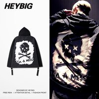 Wholesale Double Zip Jackets - Wholesale- I'M A MESS 2016 Nov. New Jacket Skull Trench double Zip Punk Jackets HEYBIG Hip hop clothing Chinese Size Coat Hooded Outerwear