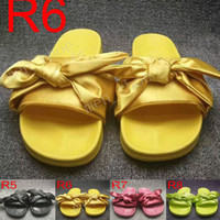 Wholesale Girls Canvas Shoes Floral - New Leadcat Fenty Rihanna Shoes Women Bowtie Slippers Indoor Sandals Girls Fashion Scuffs White Grey Pink Black Slide