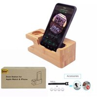 ingrosso caricabatterie-2017 per Apple Watch iwatch iPhone Bamboo stazione di ricarica Stand caricatore USB Dock secchio supporto per telefono in legno per iPhone 7 6 Plus 5S
