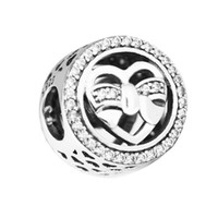 925 steril gümüş düğme toptan satış-Pandulaso Loving Bağları Charm Düğme Boncuk Pandora charms Uyar Bilezikler Kadın DIY Boncuk takı yapımı için Otantik 925 Ayar gümüş