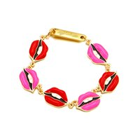 Bohemian painting gems - Europe and the United States tide explosion Korean gem flash drill eyes painted oil lips two color red lips bracelet chain jewelry