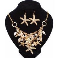 zubehör armbänder großhandel-Gold Big Starfish Conch Shell Erklärung Halsketten Armband Ohrringe Schmuck-Set Für Frauen Sommer Strand Mode Accessoires Geschenke