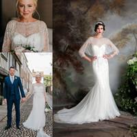 Wholesale vintage floral brooch - Great Gatsby Vintage Luxury Country Wedding Dresses 2017 Modest Jenny Packham Short Sleeve Beaded Mermaid Bridal Gowns Eliza Jane Howell