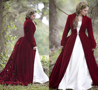 Wholesale Cloak T Shirts - 2018 Winter Christmas Ball Gown Wedding Dresses Cloaks Burgundy Velvet Long Sleeves Flowers Plus Size Formal Bridal Gowns With Jacket Coat