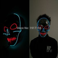 Nuovo design Halloween Party Mask masquerade Skull head Mask Fashion LED lampeggiante Neon Light EL Wire luminoso