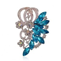 Wholesale Wholesale Rhinestone Flower Brooch - Fashionable Rhinestone 18K White Gold Plated Flower Brooch for Women Dress Wedding Bridal Brooch Pins made with Swarovski Elements