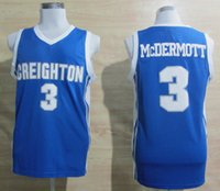 Wholesale Light Blue Shirt Men - Cheap Creighton Bluejays #3 Doug McDermott Jerseys Light Blue Cheap Doug McDermott College Basketball Jerseys University Shirts