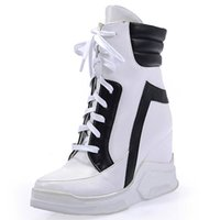 Wholesale Womens White Wedges - Wholesale-New Fashion 2016 Lace Up Wedges Platform Casual Shoes Woman Patchwork Womens Winter Or Spring Black White Red Ankle Women Boots