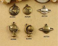 Charms space making - Antique alloy accessories Space universe charms DIY Vintage Brass map Globe charm Pendant fashion metal copper charm for bracelet making