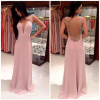 Wholesale Yellow Prom Dresses Straps - New Sexy Fascinating Pink Evening Dresses A-Line Spaghetti Strap Party Gowns Simple Design Chiffon Prom Gowns Vestido De Festa