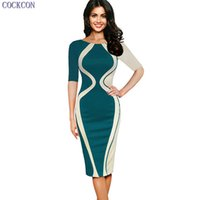 COCKCON Womens Elegant Optical Illusion Colorblock Contraste Patchwork O-Neck Bodycon Office Work Casual Office Pencil Slim Dress 169