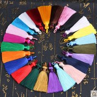 Wholesale Earrings Pc Mix - 15 pcs per lot mixed colors tassels length 6.5cm width 8mm Tassels Silk Earrings Charm Pendant Satin Tassels For DIY Jewelry Making Findings