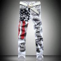 Wholesale wholesale mens skinny jeans - Wholesale- 2017 New Arrival Men Casual American USA Flag Printed Jeans Pants Mens Graffiti Print white hip-hop fashion Jeans