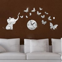 Wholesale top fashion hot baby mirrored acrylic wall clock modern furniture design living room mirror stickers background