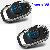 Wholesale Vimoto V8 mAh Motorcycle Multi functional Helmet Bluetooth Headset Motorbike Stereo Headset For Two Way Raido