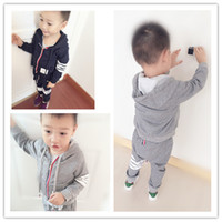 Wholesale Sweater Hoodie Children - Fashion New Children Clothing Sets Sportswear Hoodie Cardigan Sweater and Pants 2piece Set Striped Cotton Casual Sport Suit Navy Grey A5971
