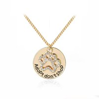 "Wholesale Cat Memorial Jewelry - ""Adopt don't shop"" Round Pet Paw Print Rhinestone Necklaces Cute Animal Dog cat Memorial Jewelry Pet Lover Puppy Paw Necklace"