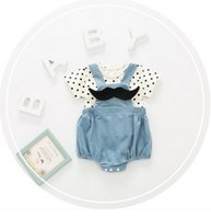 Wholesale Boys Size Tank Tops - Baby boys girls outfits toddler kids polka-dots bows short sleeve tank top+button short 2pcs set 2017 new summer children clothes G0128