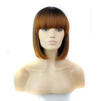 große haarpferdeschwanzperücken großhandel-Kostenloser Versand HOT SALE !!! Kurze Bob Ombre schwarze braune Farbe Perücken für Frauen Mode synthetische Perücken