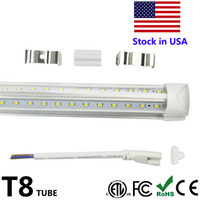 Wholesale Leds W - 4ft 5ft 6ft 8ft LED Lights V-Shaped Integrated LED Tube Light Fixtures 4 Row LEDs SMD2835 LED Lights 100LM W Stock in USA