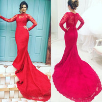 Wholesale Long Sleeved Formals Red - Elegant Formal Dresses Evening Gowns Sleeves Dresses Evening Wear Sheer Neck Illusion Lace Long Sleeved Mermaid Prom Party Gowns Court Train
