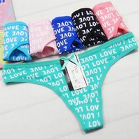Wholesale Low Rise Cotton Thong - ladies panties women underwear sexy lingerie cotton womens briefs cotton underpants g string femme letter printed panty tanga mujer thongs