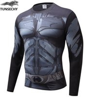 Wholesale Superman Long Sleeve Men - Compression Shirt Batman VS Superman 3D Printed T-shirts Men Raglan Long Sleeve Cosplay Costume Fit Clothing Fitness Tops Male