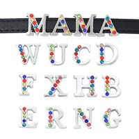 Hot Fashion 26 Plaqué Argent Lettres 8MM Colorized moitié rhinestone Crystal Slide Lettres Charms Bracelet DIY Bracelet