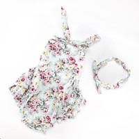 Wholesale Girl Pajamas Bowknot - HUG ME 2017 NEW girl toddler 2pcs set outfits flower Chevron dots romper onesies jumper jumpsuits cake pajamas + bowknot headband outfits