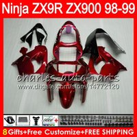 ingrosso zx9r carena rosso-8Gifts 23Colors Per KAWASAKI NINJA ZX900 ZX9R 98 99 00 01 900CC rosso lucido 48HM20 ZX-9R ZX 9 R ZX900C ZX 9R 1998 1999 2000 2001 Kit carenatura