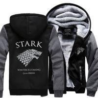 Wholesale Custom Zipper Hoodies - Wholesale- Dropshipping USA Game of Thrones House Stark of Winterfall Unisex Sweatshirt Zipper Fleece Winter Hoodies custom made jacket