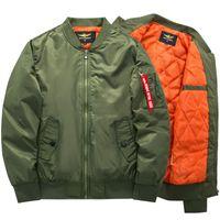 casacos verdes do exército para homens venda por atacado-Freelee 2018 Alta Qualidade Ma1 Grosso e Fino Exército Verde Militar Da Motocicleta Ma-1 Jaqueta De Vôo Piloto Força Aérea Dos Homens Bomber Jacket