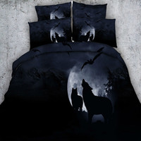Wholesale Wolf Quilt Cover King Size - Night Wolf Bedding Sets HD Digital 3D Printing Quilt Duvet Cover Set Pillowcases Twin Queen King Size